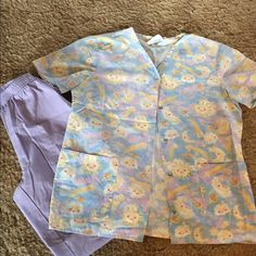 Purple w/ Sun & Moon! Crest Purple Scrub Pants w/ Elastic Waistband- Small. Multi-Color Snap Up Scrub Top - Medium Other
