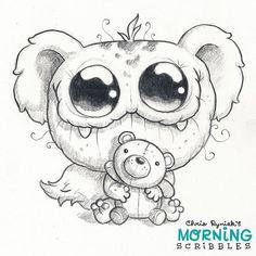 Buddy bear ⚫️⚫️#morningscribbles