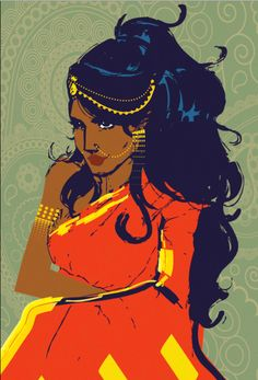 The Indian woman doodled. Reminds me of Disney's Princess Jasmine. <3