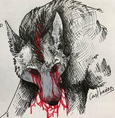 "R. Casthavian on Instagram: ""Day 5 & 6 of #Inktober. Nihvys my weresona. • #goretober #drawtober #ink #blackink #redink #werewolf #wolf #october #halloween #spooky…"" My Character, Werewolf, Inktober, Moose Art, Halloween, Animals, Instagram, Animales, Animaux"