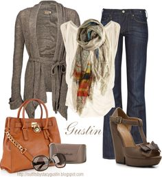 """tan scarf"" by stacy-gustin on Polyvore"