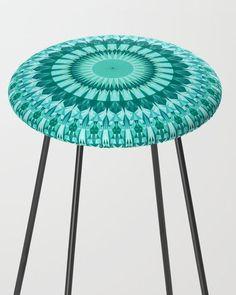 Turquoise Sun Triangle Mandala Counter Stool by davidzydd Counter Stools, Bar Stools, Xmas, Christmas, Boho Fashion, Boho Chic, Kitchen Decor, Triangle, Furniture Design