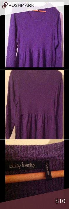 Purple baby doll style sweater Daisy Fuentes, size 2x, purple, ribbed top then flowy bottom Daisy Fuentes Tops