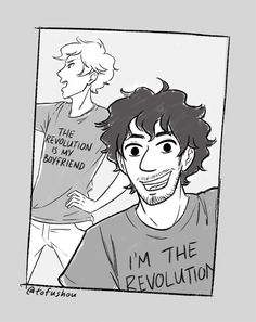 """tofushou: """"I had to draw Enjolras and Grantaire after showed me this shirt """" A SEQUEL Theatre Geek, Musical Theatre, Enjolras Grantaire, Drama Class, Kid Memes, Teen Wolf, Fangirl, Musicals, Nerd"""