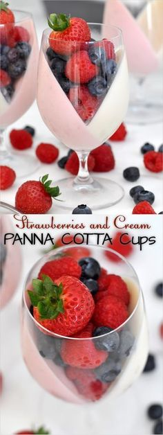Strawberry and Cream Panna Cotta Fruit Cups Let's give a new shape to the classic Italian panna cotta with these beautiful pink and white cups filled with lots of fresh fruit Italian Desserts, Mini Desserts, Italian Recipes, Fresh Fruit Desserts, Dessert Cups, Dessert Recipes, Fruit Cups, Strawberries And Cream, Sweet Treats