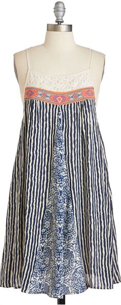 mixed print swing dress