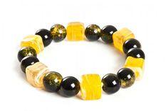 Bransoletka czarno-żółta - szkło i lampwork - black&yelow lampwork/crackle glass stretch bracelet http://corallia.pl/bransoletki/bransoletka-szklo-i-lampwork-czarno-zolta.html#.VNn40S7Hg2g