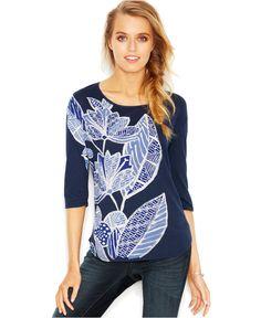 Lucky Brand Three-Quarter-Sleeve Printed Tee - Tops - Women - Macy's