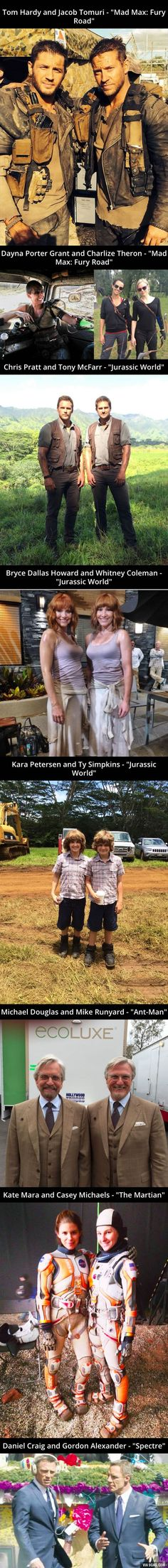 """Actors and actresses with their stunt doubles from """"Mad Max: Fury Road"""", """"Jurassic World"""", """"Ant-Man"""", """"The Martian"""" and """"Spectre"""""""
