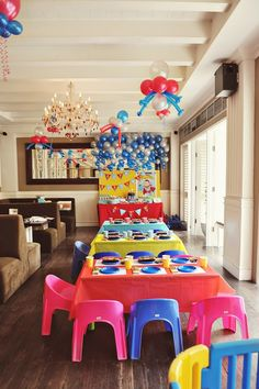 Super hero party.  LOVE the decor.  Fun fun fun.