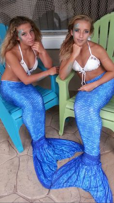 Mertwins! If you are looking for a fun Mermaid Costume, we recommend Fin Fun's Mermaiden Line of swimmable mermaid tails. Here you can see Crystal's Arctic Blue Mermaid tail featured. And this is just one of the many color options! Pin your favorite today!