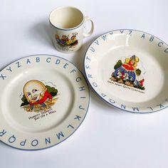 Humpty Dumpty, Dish Sets, Mugs Set, Nursery Rhymes, 3 Piece, 1950s, Alphabet, Decorative Plates, Lord