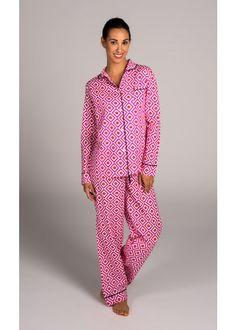 Malabar Bay Hopi Pink Pajama Set in classic cotton.