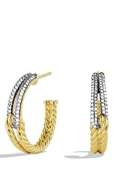 David Yurman 'Labyrinth' Hoop Earrings with Diamonds in Gold available at #Nordstrom