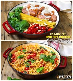 One Pot Cheesy Pasta and Sausage-next time I'll use 1 carton tomatoes, 1 lb sausage, 1/2 lb linguine, keep other ingredients the same.  could use dried basil if no fresh on hand