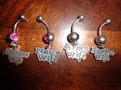 Military wife belly rings. Navy wife, Army wife, Airforce wife, Marine wife. $11.00, via Etsy. @Katee Downey