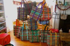 from weaving studio Crazy as a Loom. Inkle Weaving, Inkle Loom, Hand Weaving, Weaving Textiles, Weaving Patterns, Cricket Loom, Peg Loom, Weaving Projects, New Bag