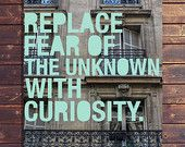 """Replace fear of the unknown with curiosity"" #adventure #Paris #travel #wanderlust #etsy #hipster #quotes #book #europe #photography #posters #house #decorating #design #balcony"