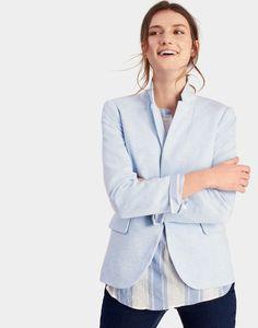Mollie Sky Blue Soft Jersey Blazer    Joules US