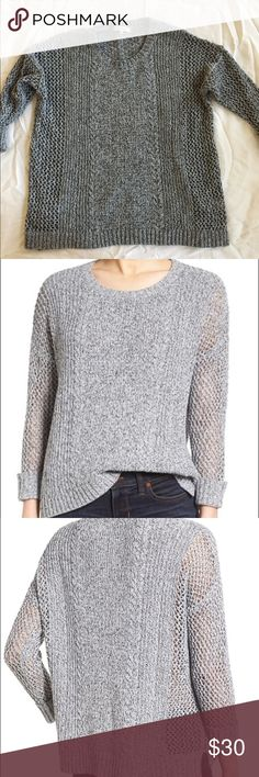 Madewell Gray 'Karlie' knit sweater This gorgeous sweater is a little oversized and drapes nicely. It have 3/4 length sleeves and is perfect for spring or fall. It's in excellent condition! I usually wear a Large and it fit me perfectly! Madewell Sweaters Crew & Scoop Necks