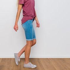 Hillcrest Cuffed Shorts - Light Denim Cuffed denim slightly stretchy shorts Approximate waist measurement: Small - Medium - Large - Approximate inseam length - cuffed: Small - Medium - Large - Fabric content: Cotton, Rayon, Polyester, Spandex Knee Length Denim Shorts, Denim Shorts Outfit, Shorts Outfits Women, Summer Shorts Outfits, Short Outfits, Nike Shorts, Modest Outfits, Bermuda Shorts Outfit, Modest Shorts