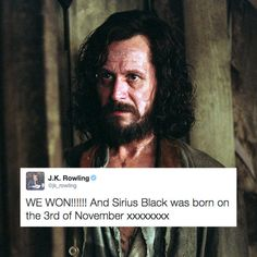 Sirius Black's birthday. Love Sirius black!