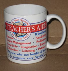 Teachers Aide Assistant Mug Coffee Tea School Special Gift End of Year