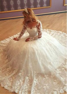 Stunning Tulle Bateau Neckline Ball Gown Wedding Dress With Lace Appliques & Beadings & 3D Flowers - Adasbridal.com