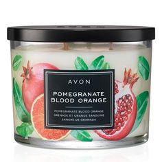 "Fill your home with the sweet, succulent scent of juicy fruit.NOTES• Pomegranate• Blood orange• Champagne • Red currantFEATURES • 3-wick candle• 11 oz. candle• 30 hours of burn time• 4"" diam. x 3 1/4"" H.MATERIALS• Glass jar• Metal cover• Wax candle"