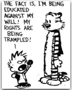 """Calvin and Hobbes QUOTE OF THE DAY (DA): """"I don't want to go to school. I don't want to know anything new. I already know more than I want to! I liked things better when I didn't understand them! The fact is, I'm being educated against my will! My rights are being trampled!"""" -- Calvin/Bill Watterson"""