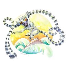 Magic Challenge # 2/28: 🌷CURLY WAVES + LEMUR | Curly waves + Lemurем #ill ... - #challenge #curly #lemur #magic #waves - #flyinglemur Illustration Sketches, Character Illustration, Flying Lemur, Curly, Challenges, Waves, Fancy, Artwork, Illustrator
