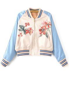 Floral Print Baseball Jacket Chaquetas De Béisbol 1431cde30b088