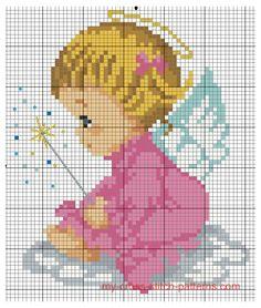 Baby Girl Angel X-stitch pattern Free Cross Stitch Charts, Cross Stitch Baby, Cross Stitch Angels, Beaded Cross Stitch, Modern Cross Stitch Patterns, Counted Cross Stitch Patterns, Cross Stitch Numbers, Pot Pourri, Christmas Embroidery