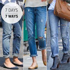 Don't knock it til you try it - Boyfriend jeans for 7 days worn 7 ways