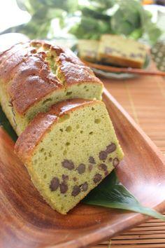 Matcha Pound Cake with Sweet Azuki Beans