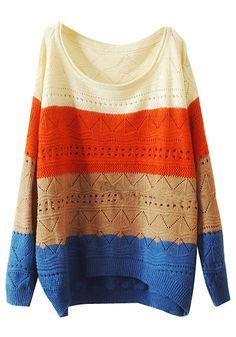 Striped Cutout Knitwear - Creamy Shoulder @LookBookStore