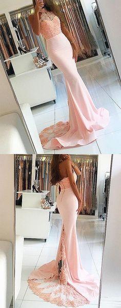 Mermaid Prom Dresses,Halter Prom Dresses,Pearl Pink Prom Dresses,Beading Prom Dresses,Lace Prom Dresses,Prom Dresses 2017