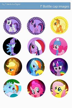 Free Bottle Cap Images: My Little Pony free digital bottle cap images Bottle Cap Art, Bottle Cap Crafts, Bottle Cap Images, Diy Bottle, Festa Do My Little Pony, My Little Pony Birthday Party, Little Poni, Imagenes My Little Pony, Button Art