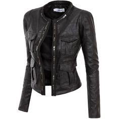 Doublju Faux Leather Power Shoulder Jacket with Pocket Detail (3.735 HUF) found on Polyvore featuring women's fashion, outerwear, jackets, tops, coats, leather jackets, leather look jackets, pocket jacket, faux-leather jackets and imitation leather jacket