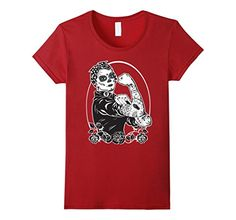 Rosie The Riveter Shirt - Dia De Los Muertos Feminist Tee Rosie The Riveter, Branded T Shirts, Fashion Brands, Tees, Mens Tops, Stuff To Buy, Gift Ideas, Amazon, Art