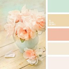 Color Palette Delicate shades of peach and pink will look beautiful in a bedroom. Also, such colors will suit for Shabby Chic and will fit perfectly into this romantic s. Shabby Chic Design, Shabby Chic Style, Shabby Chic Decor, Shabby Chic Colors, Wedding Color Schemes, Colour Schemes, Color Combos, Gold Wedding Colors, Paint Schemes
