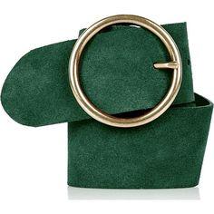 Suede Round Buckle Belt topshop zielony jesień