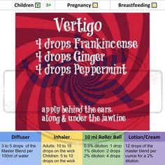 Vertigo Essential Oil Blend - Roller for Mom Essential Oils For Dizziness, Essential Oils For Vertigo, Essential Oil Inhaler, Essential Oils 101, Essential Oil Diffuser Blends, Young Living Oils, Young Living Essential Oils, Vertigo Relief, Doterra Blends