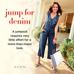 "Ivy Jumpsuit Seaside Gardens Collection: Transport yourself to the scenic seaside for sunny days spent in all-American fashion. With easy-to-wear pieces and a nod to nautical, this collection lets your style set sail.  Jump into denim with a jumpsuit that delivers a more-than-major look.  FEATURES • Lightweight chambray • Button-down closure • Elastic waist • Front tie • Front pockets • Inseam length: 25"" on medium; 24"" on 1X  MATERIALS • Cotton"