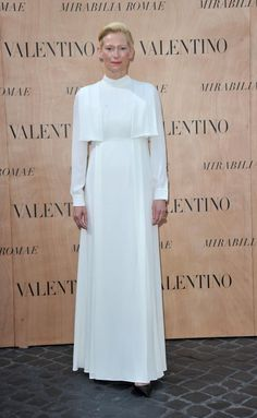 Tilda Swinton attends the Valentino show for Fall/Winter during Rome Fashion Week on July 9, 2015.