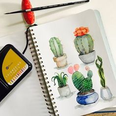 Tiny potted pretties done! 🌵🌵🌵A touch of gold shimmer courtesy of @primamarketinginc Shimmering Lights palette. ✨✨swipe to see how the added gold paint shimmers when the light hits it just right. ✨✨Which mini is your fave? 💚 . Paints: Shinhan; Shimmering Lights by Prima Paper: @mosseryco sketchbook #watercolor #watercoloristph #watercolorcactus #watercolorcacti #watercolorsucculents #snakeplant#succulents #cacti