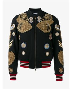 DRIES VAN NOTEN Embroidered and Embellished Wool Bomber Jacket. #driesvannoten #cloth #