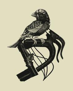 Bird on Bike // 16x20 Artprint by The Bungaloo $20 #bird #bike #tenspeed #drophandle #screenprint #print #poster #handmade #gifts