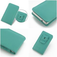 PDair Leather Case for Sony Xperia Z1 Compact D5503 - Vertical Pouch Type Belt Clip Included (Aqua)
