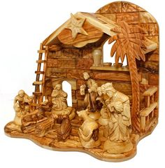 Hand made by a Christian family in the town of Yeshua' (Jesus) birth. This highly detailed authentic all Olive Wood Nativity set features an added music box that plays 'Silent Night' when you turn the Star of Bethlehem on the Nativity rooftop.